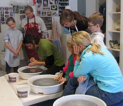Wheel instruction during Adult / Child Clay Time.