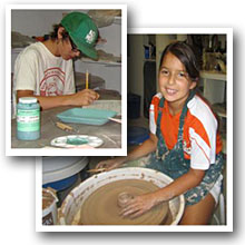 Campers glaze and work on the pottery wheel.