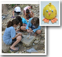 Photos of ceramic chick and campers hunting for clay.