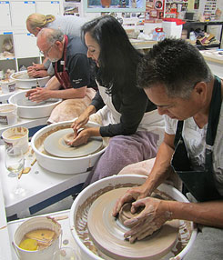Team Building Workshop at the pottery wheel.
